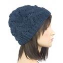 Klasyczna zimowa czapka damska z ażurowym splotem: granatowa
