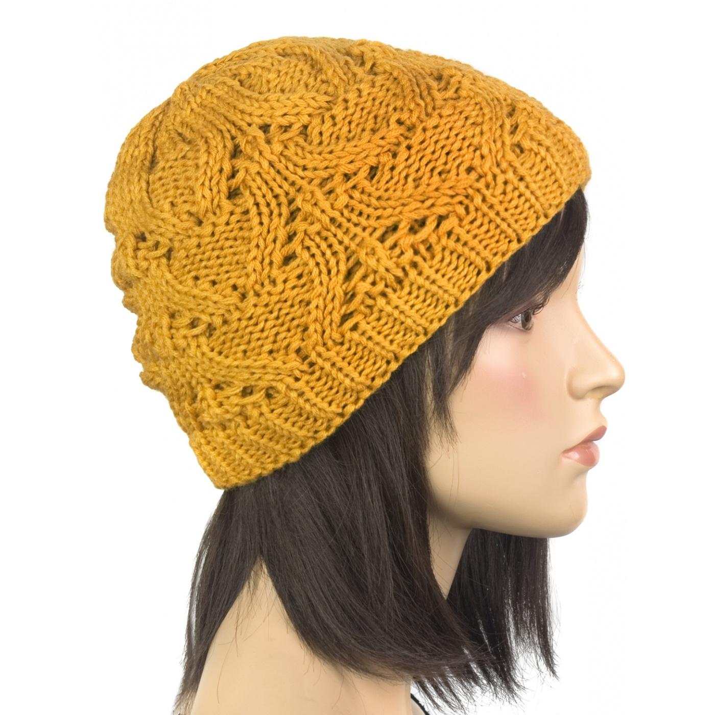 Klasyczna zimowa czapka damska z ażurowym splotem: musztardowa