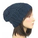 Efektowna damska czapka zimowa krasnal: granatowy