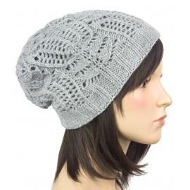 Efektowna damska czapka zimowa krasnal: popielaty