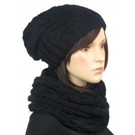Komplet - damska czapka zimowa krasnal i szal komin: czarny