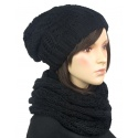 Komplet: damska czapka zimowa krasnal i szalik komin: czarny