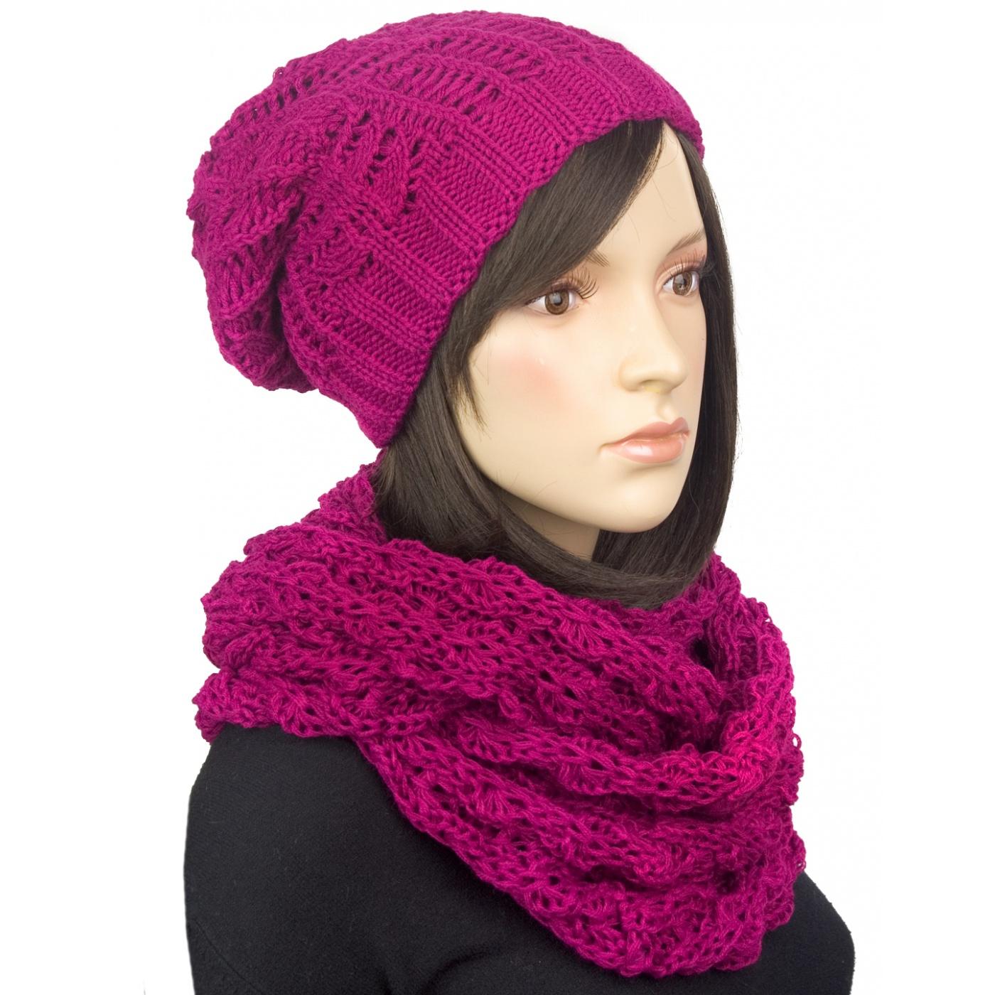 Komplet: damska czapka zimowa krasnal i szalik komin: amarantowy