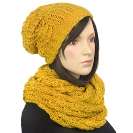 Komplet - damska czapka zimowa krasnal i szal komin: musztardowy