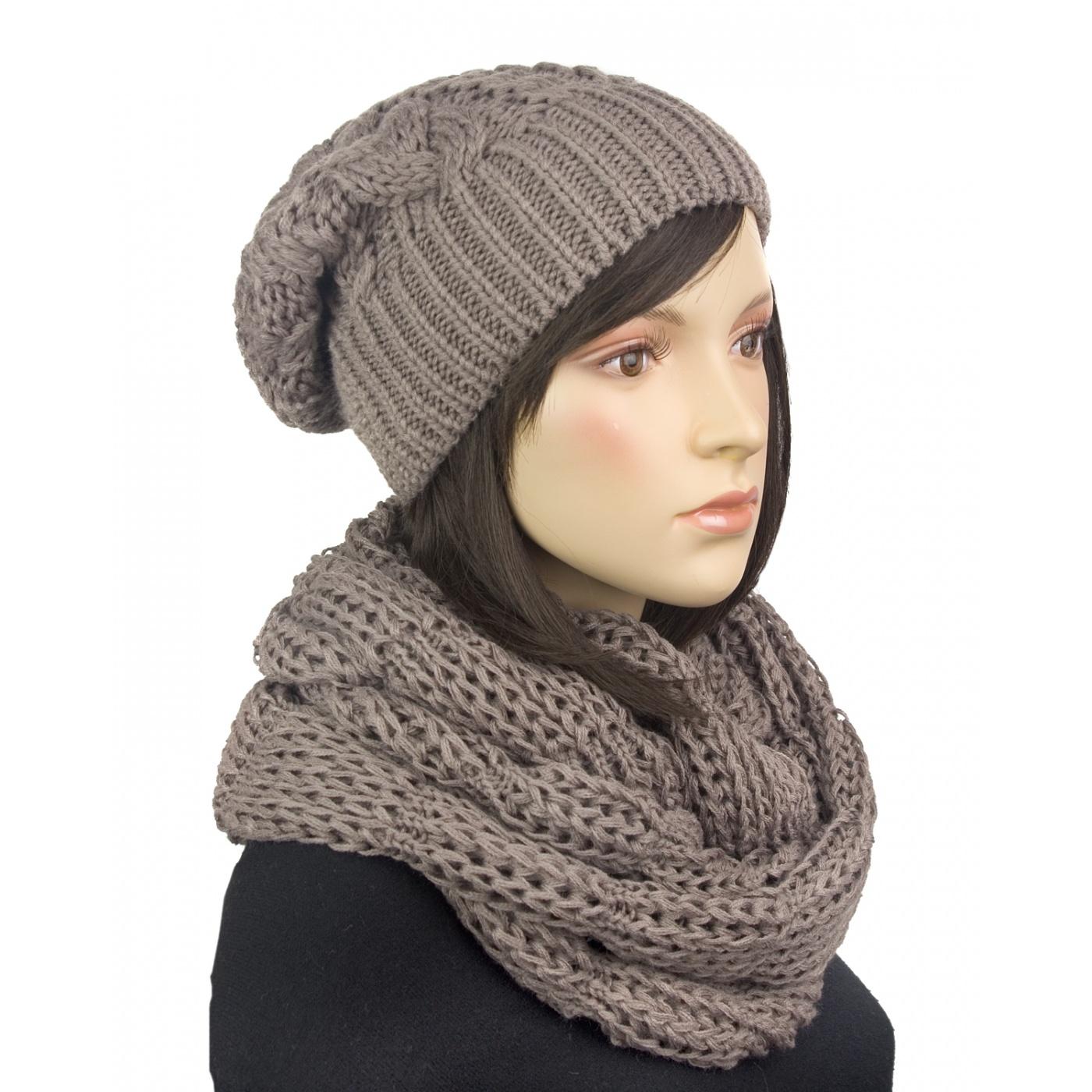 Komplet - stylowa zimowa czapka damska i szal komin: cappuccino