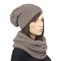 Komplet - modna damska czapka zimowa i stylowy szal komin: cappuccino