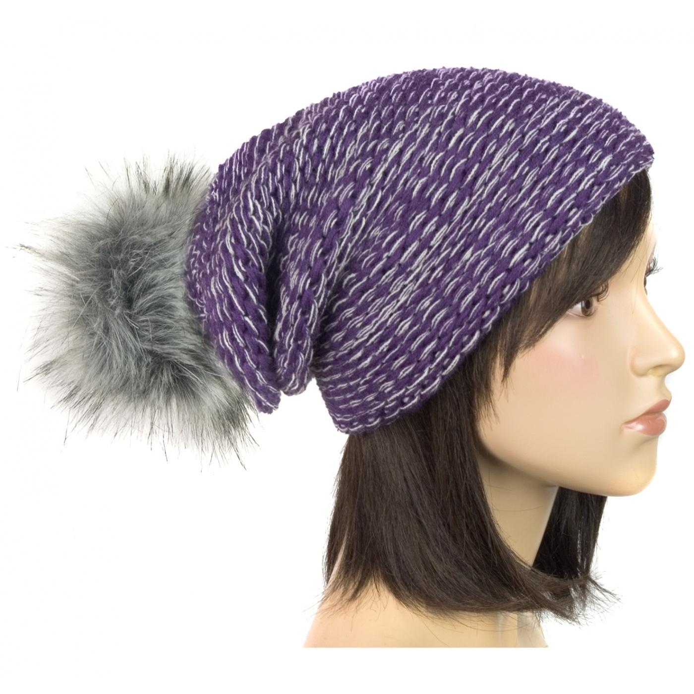 Damska czapka zimowa krasnal z pomponem: fioletowy i popielaty