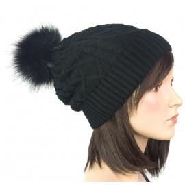 Damska czapka zimowa z pomponem z futerka: czarny