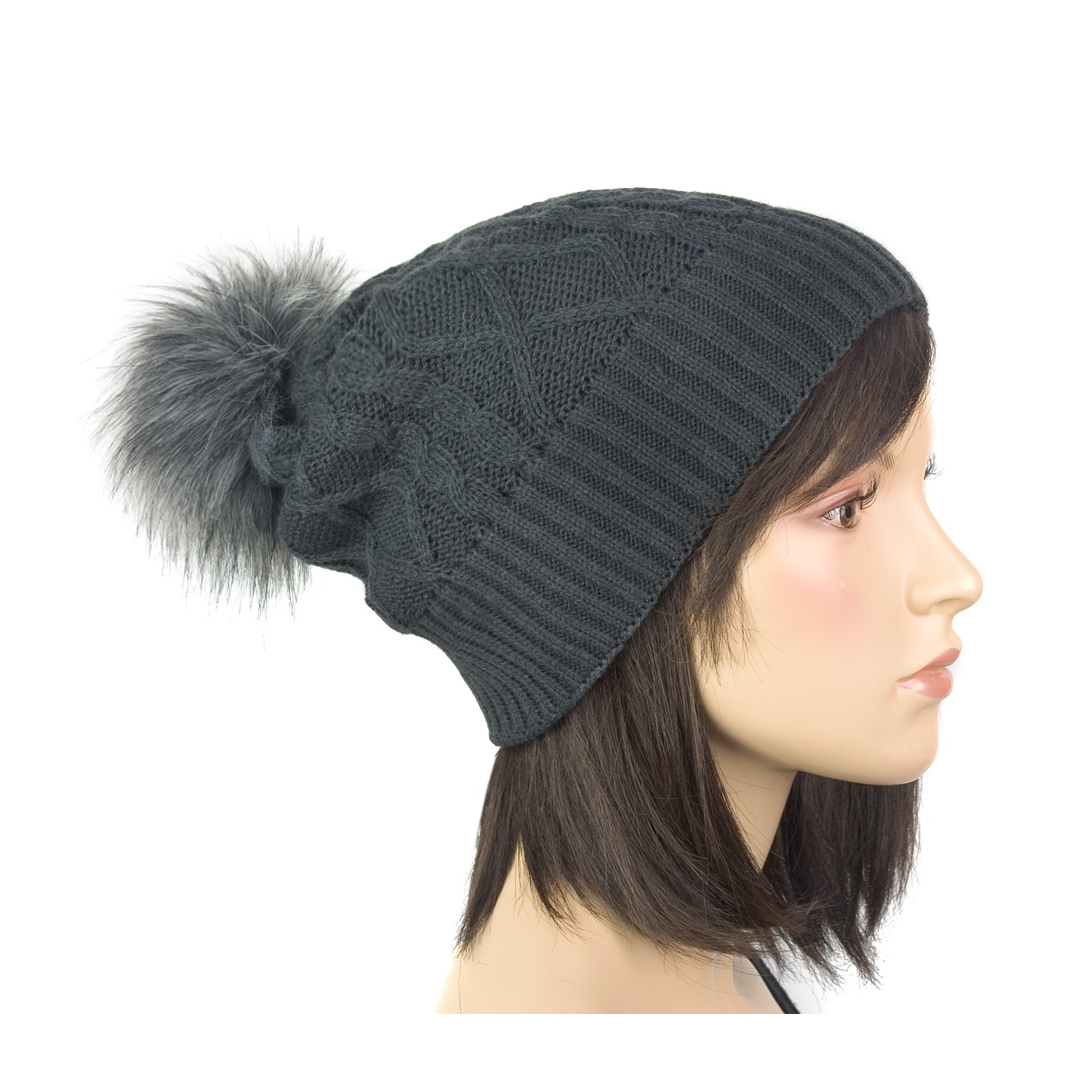 Damska czapka zimowa z pomponem z futerka: grafitowy