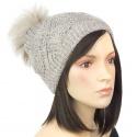 Ciepła damska czapka zimowa z pomponem z futerka: beżowy