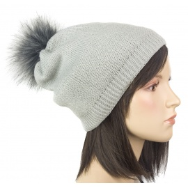 Damska czapka zimowa krasnal z pomponem z futerka: popielaty