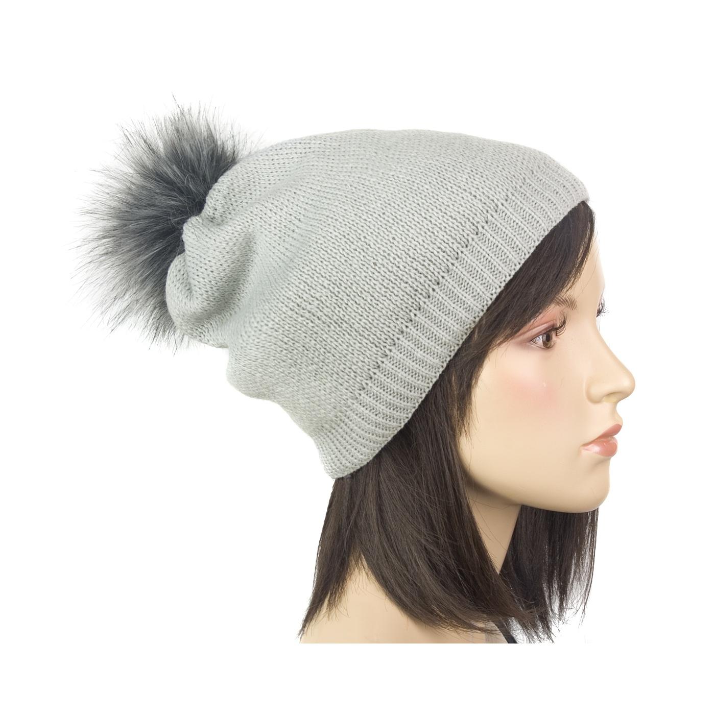 Damska czapka zimowa z pomponem z futerka: popielaty