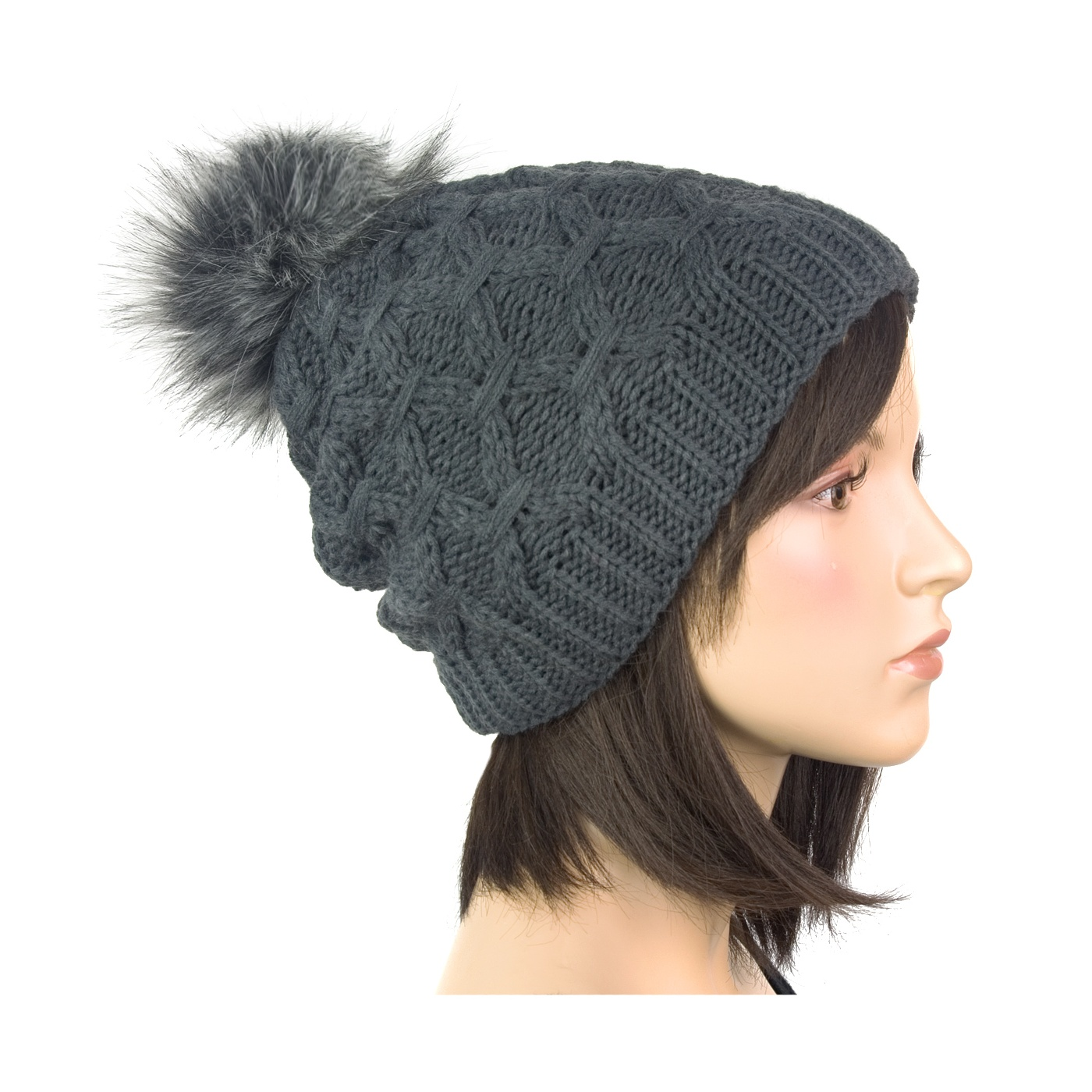 Dwuwarstwowa damska czapka zimowa z pomponem z futerka: grafitowy