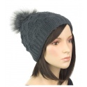 Dwuwarstwowa damska czapka zimowa z pomponem z futerka: cappuccino