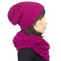 Komplet: damska czapka zimowa krasnal i szalik komin: beżowy