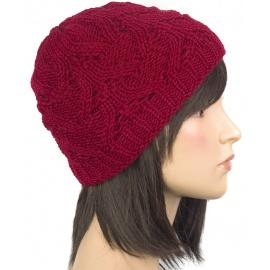 Klasyczna zimowa czapka damska z ażurowym splotem: bordowa