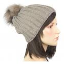 Damska zimowa czapka z pomponem z futra