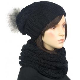 Komplet damska czapka zimowa z pomponem i szalik komin : czarny