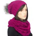 Komplet damska czapka zimowa z pomponem i szalik komin : amarant