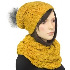 Komplet - damska czapka zimowa z pomponem i szal komin : musztardowy