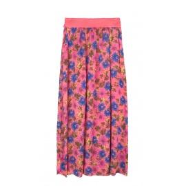 Długa spódnica w kwiaty – koralowa