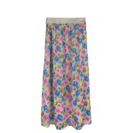 Długa spódnica w kwiaty – cappuccino