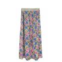 Długa spódnica w kwiaty – jeansowy niebieski
