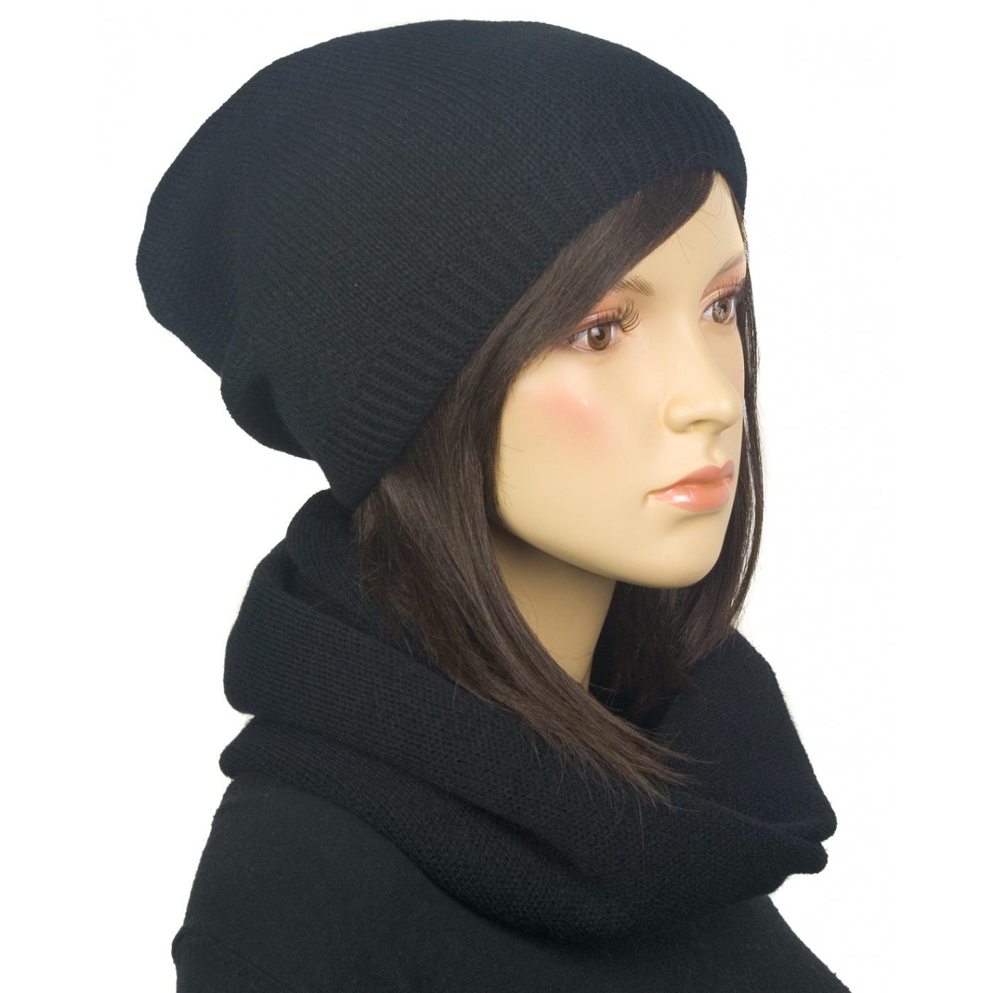Komplet zimowy damski czapka i szalik komin - czarny