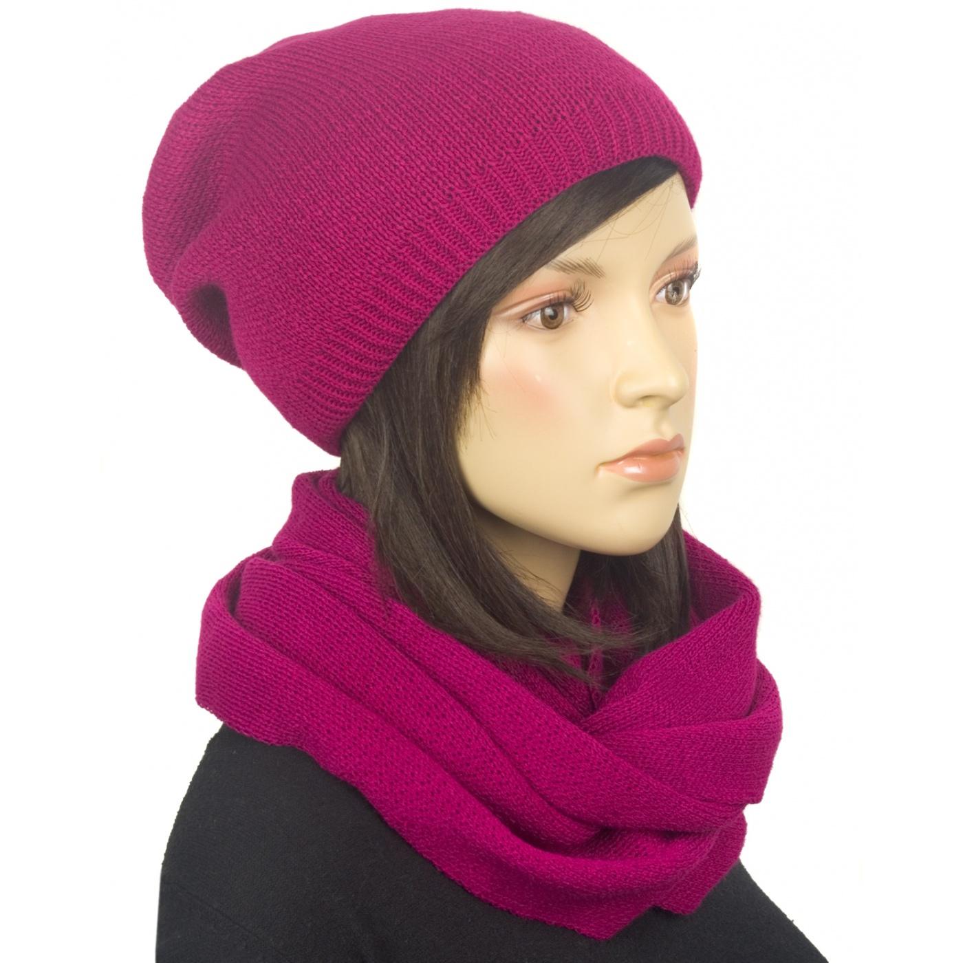 Komplet zimowy damski czapka i szalik komin - amarantowy różowy