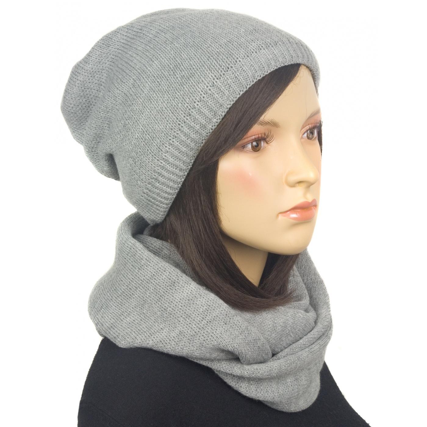 Komplet zimowy damski czapka i szalik komin - szary popielaty