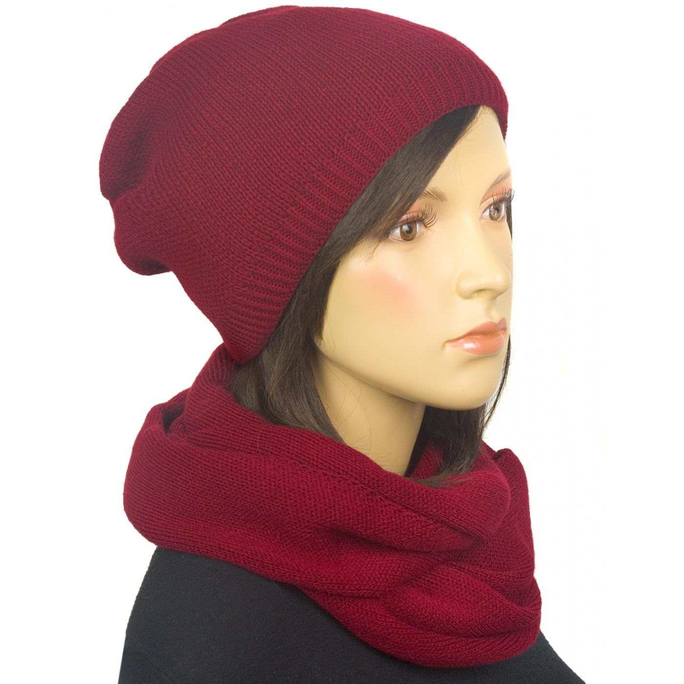 Komplet zimowy damski czapka i szalik komin - bordowy