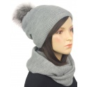Komplet zimowy damski czapka z pomponem i szalik komin - popielaty szary