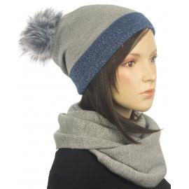 Dwukolorowy komplet zimowy czapka z pomponem i szalik komin - szaro-niebieski
