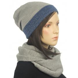 Dwukolorowy komplet zimowy czapka i szalik komin - popielato-jeansowy