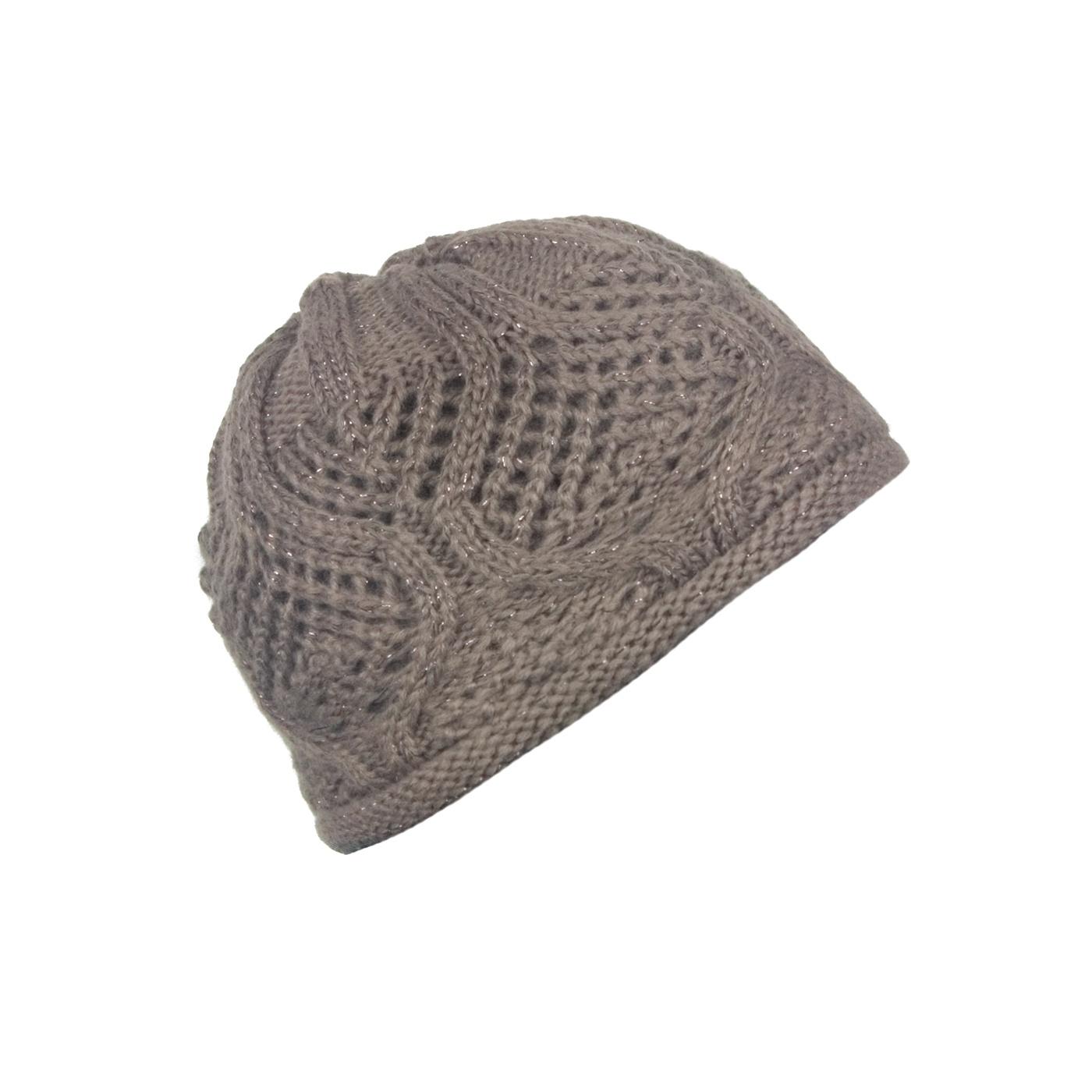 Damska czapka zimowa z ażurowym splotem - cappuccino