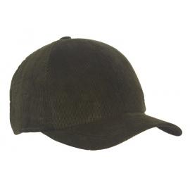 Męska zimowa sztruksowa czapka z daszkiem - oliwkowa zielona