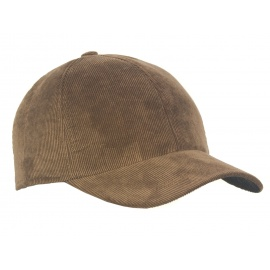 Męska zimowa sztruksowa czapka z daszkiem - beżowa