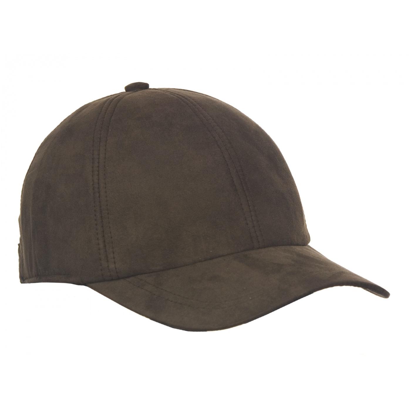 Męska zimowa zamszowa czapka z daszkiem - brązowa