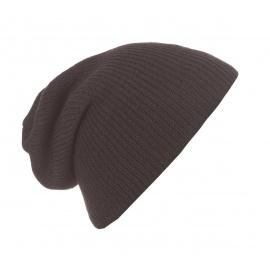 Męska czapka beanie w prążki 3w1 - brązowa