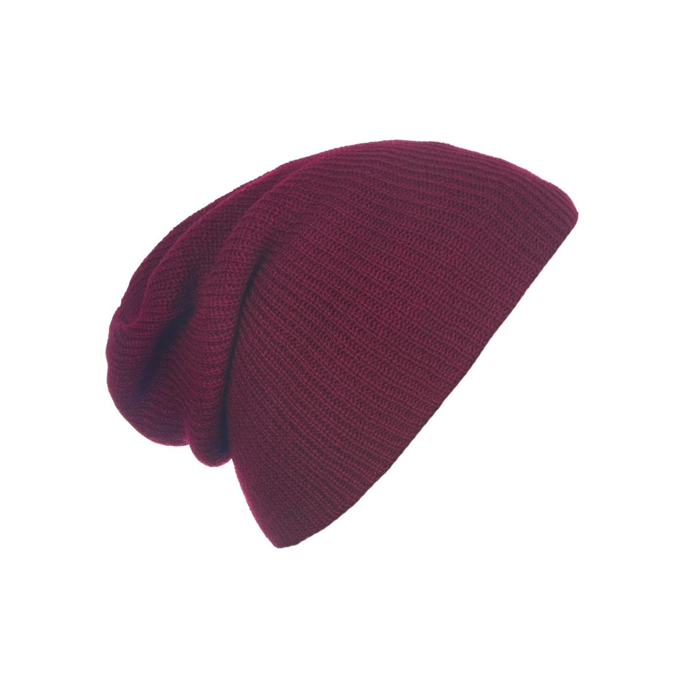 Męska czapka beanie w prązki 3w1 - burgund