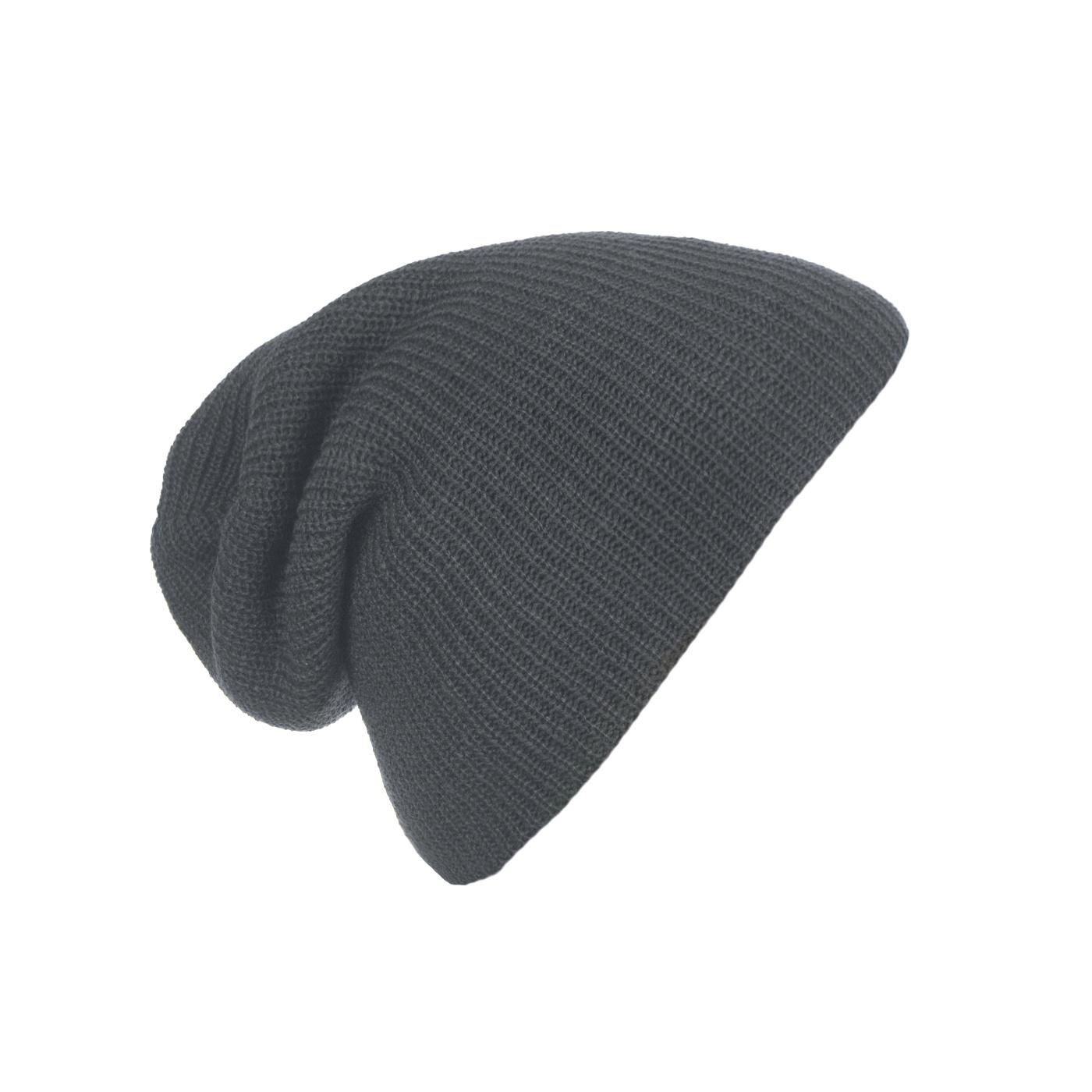Męska czapka beanie w prązki 3w1 - grafitowa