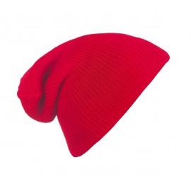 Męska czapka beanie w prążki 3w1 - czerwona
