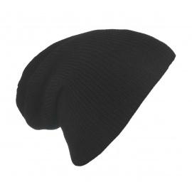 Męska czapka beanie w prążki 3w1 - czarna