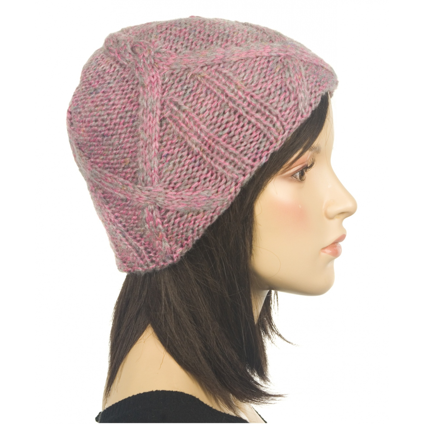 Ciepła czapka damska - szaro-różowy melanż