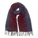 Zimowy wzorzysty damski szalik - bordowo-niebieski
