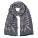 Zimowy wzorzysty damski szalik - szaro-beżowy
