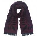 Zimowy wzorzysty damski szalik - bordowo-czarny