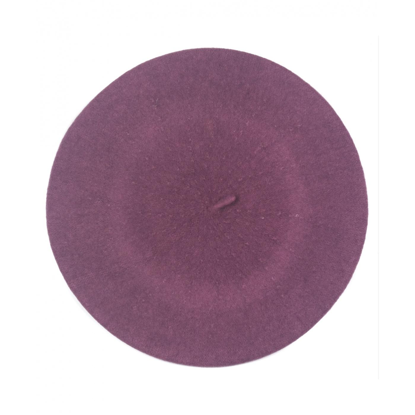 Klasyczny damski beret wełniany – różowo-fioletowy
