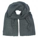 Zimowy damski szalik ażurowe wstawki - grafitowy