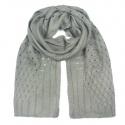 Zimowy damski szalik ażurowe wstawki - popielaty szary
